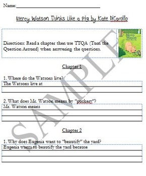 BUNDLE Mercy Watson Series: Comprehension Questions Books 1-6
