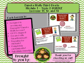 BUNDLE Module 1 Topic D Eureka Math Third Grade SmartBoard