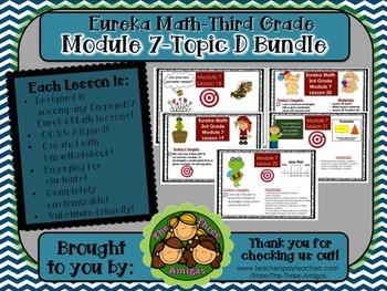 BUNDLE Module 7 Topic D Eureka Math 3rd Grade SmartBoard 18-22