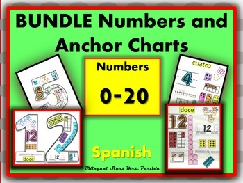 Number Anchor Charts-Posters-1-20 BUNDLE Spanish Bilingual