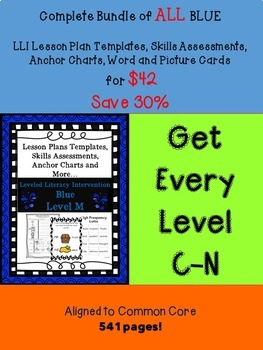 BUNDLE ALL Blue LLI Anchor Charts,Skills Assessments,Lesso