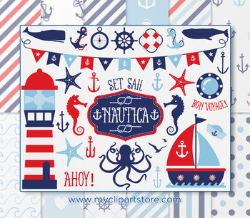 CLIPART BUNDLE - Nautica (boy) / Nautical / Sailing