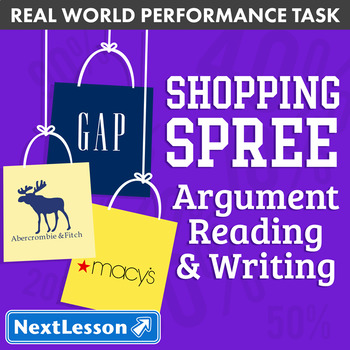 G6 Argument Reading & Writing - 'Shopping Spree' Performance Task