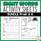 BUNDLE PreK-K Sight Word Practice (Dolch) Printables