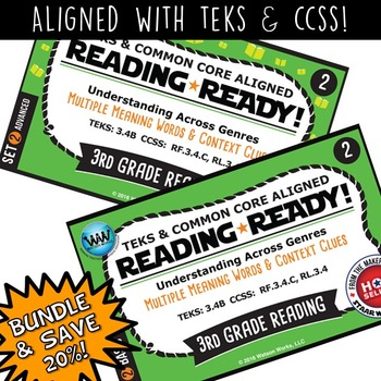 BUNDLE~READING READY 3rd Grade Task Cards–Multiple-Meaning