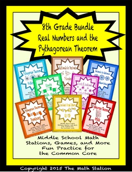BUNDLE Real #'s & Pythagorean Theorem Math Stations for Co