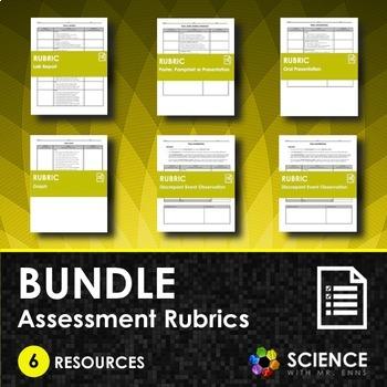 BUNDLE - Assessment Rubrics (Lab Report, Graph, Pamphlet,