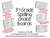 3rd Spelling Choice Boards! (Also Includes Parent Letter &