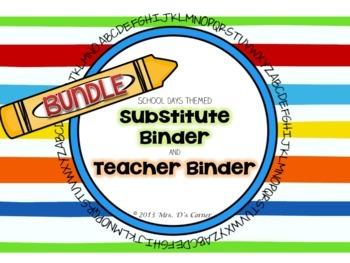 BUNDLE School Days Theme - Sub Tub Substitute Binder and T
