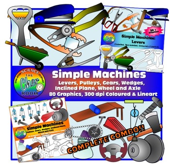 Simple Machines Clipart (Levers + Pulleys + Gears ETC) [BUNDLE]
