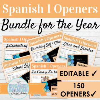 BUNDLE of 130 Spanish 1 Class Openers: Warm ups for Expres