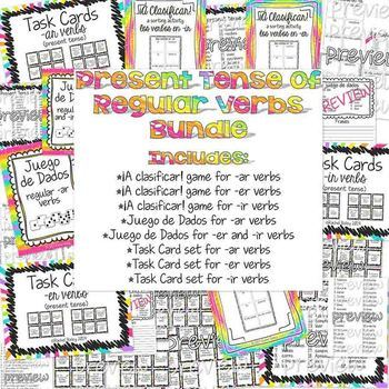 BUNDLE of 8 -ar, -er and -ir verbs Games and Activities fo