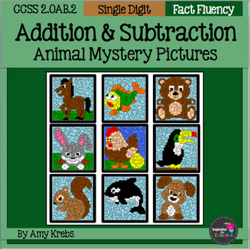 BUNDLED - Animal Addition and Subtraction Mystery Pictures