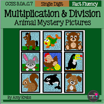 BUNDLED - Animal Multiplication and Division Mystery Pictures