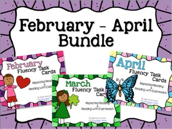 BUNDLED February - April Fluency Practice Task Cards