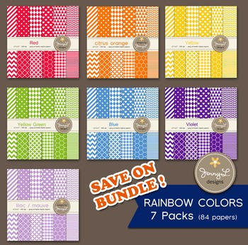 BUNDLED Digital Papers : Rainbow Colors