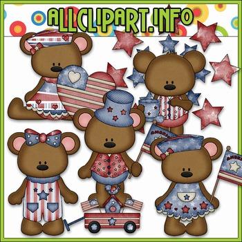 BUNDLED SET - I Love America Bears 1 Clip Art & Digital St