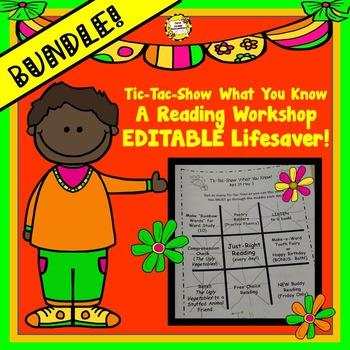 BUNDLED Tic-Tac-Show What You Know Reading Workshop Editab