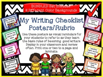 {BUNDLE} My Writing Checklist Posters/Rubric (Chevron in 8