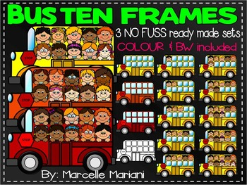BUS TEN FRAMES- TRANSPORTATION TEN FRAMES CLIP ART