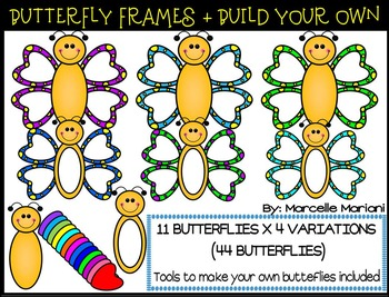 BUTTERFLY FRAMES & MAKE YOUR OWN BUTTERFLIES CLIP ART GRAP