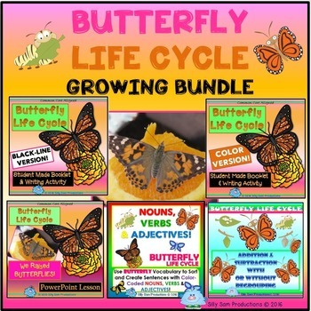 BUTTERFLY Life Cycle GROWING BUNDLE Literacy  Math & Scien