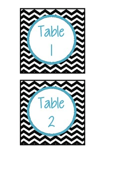BW Chevron Table Numbers