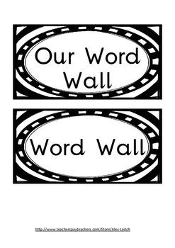 B&W Word Wall labels