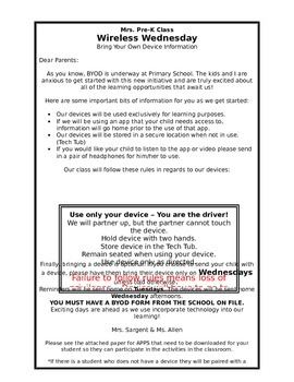 BYOD (Bring Your Own Device) Parent Letter
