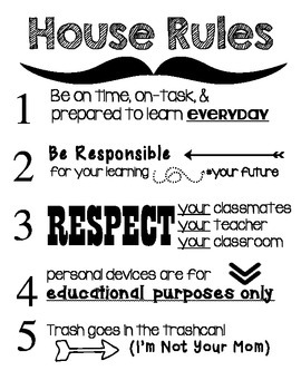 """BYOD Secondary """"House"""" Rules Classroom Poster"""