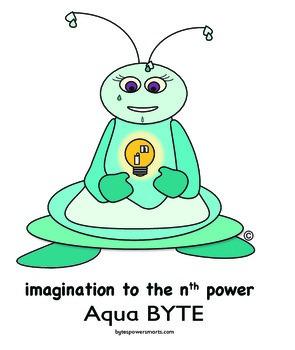 BYTES Power Smarts®:  Character Poster #9 - Aqua BYTE