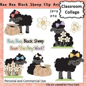 Baa Baa Black Sheep Clip Art - Color - pers & comm use Nur