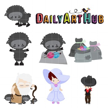 Baa Baa Black Sheep Clip Art - Great for Art Class Projects!