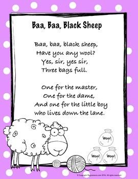 Nursery Rhyme : Baa Baa Black Sheep - Math and Literacy Pack
