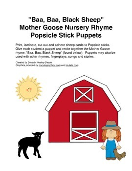 """""""Baa, Baa, Black Sheep"""" Mother Goose Rhyme Popsicle Stick Puppets"""