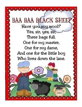 Baa, Baa, Black Sheep Poem and Little Book