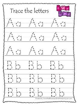 Baa Baa Black Sheep themed A-Z Tracing preschool education