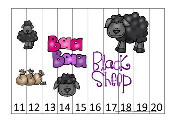 Baa Baa Black Sheep themed Number Sequence Puzzle 11-20 pr