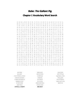 Babe - The Gallant Pig Chapter 1 Vocabulary Word Search