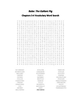 Babe - The Gallant Pig Chapters 3-4 Vocabulary Word Search
