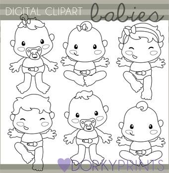Babies Black Line Clip Art