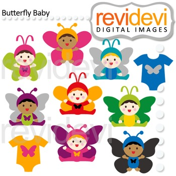 Babies in Butterfly Costumes Clip Art