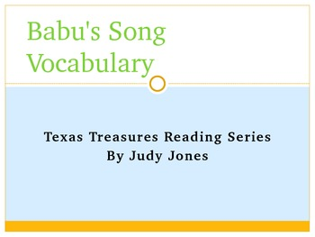 Babu's Song Vocabulary