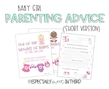 Baby Advice Book - Baby Girl (Younger Students)