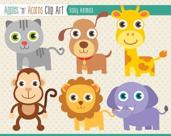 Baby Animals Clip Art - color and outlines