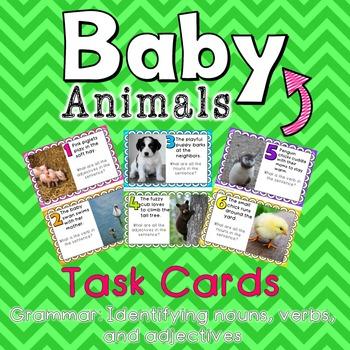 Baby Animals Grammar Task Cards