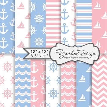 Baby Blue And Pink Nautical Digital Paper Pack, Geometric,