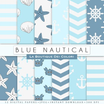Baby Blue Nautical Digital Paper, scrapbook backgrounds.