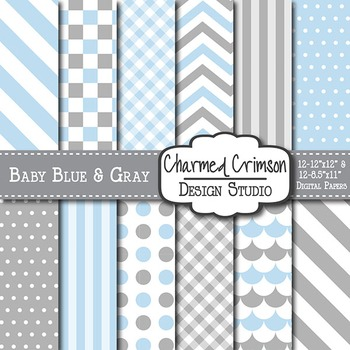 Baby Blue and Gray Digital Paper 1410