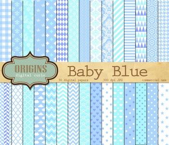 Baby Blue digital scrapbook paper patterns backgrounds
